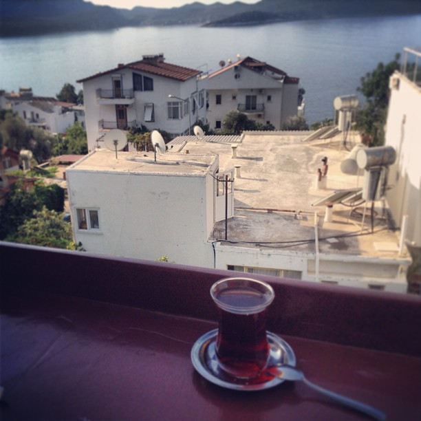 Ates, our hostel in Kas, Turkey had an amazing terrace perfect for tea time.